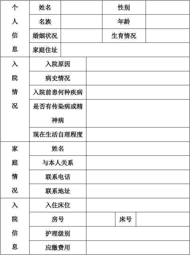 养老院合同模板_养老院基本信息登记表_文档下载