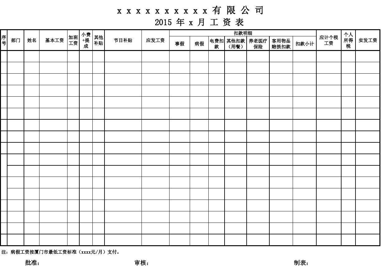 深圳市工资表格式_工资表格式_word文档在线阅读与下载_无忧文档