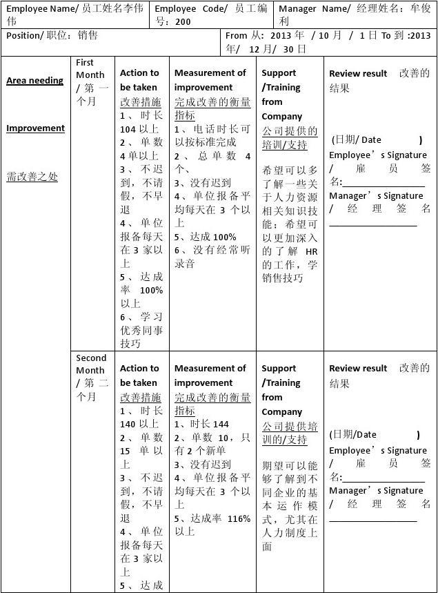 Q1工作绩效改善计划 Performance Improvement Plan (PIP)333333