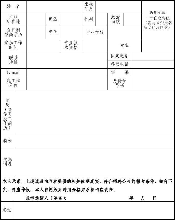 南昌高新区管委会公开招聘工作人员报名表