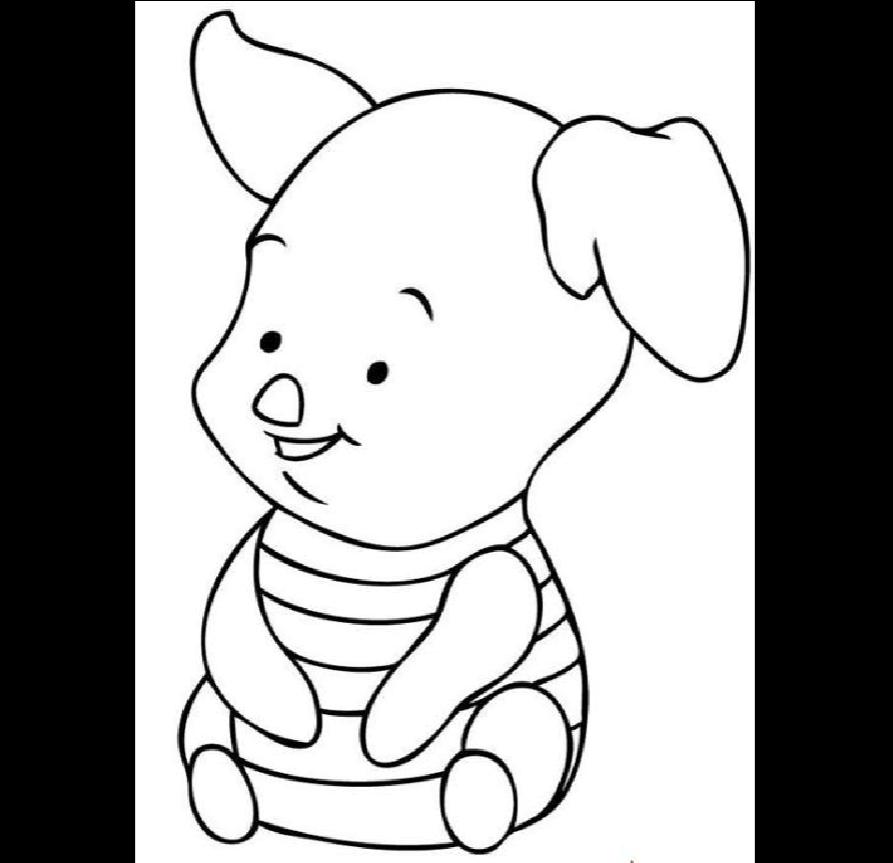 2,幼儿简笔画图片大全 卡通小动物小胖猪