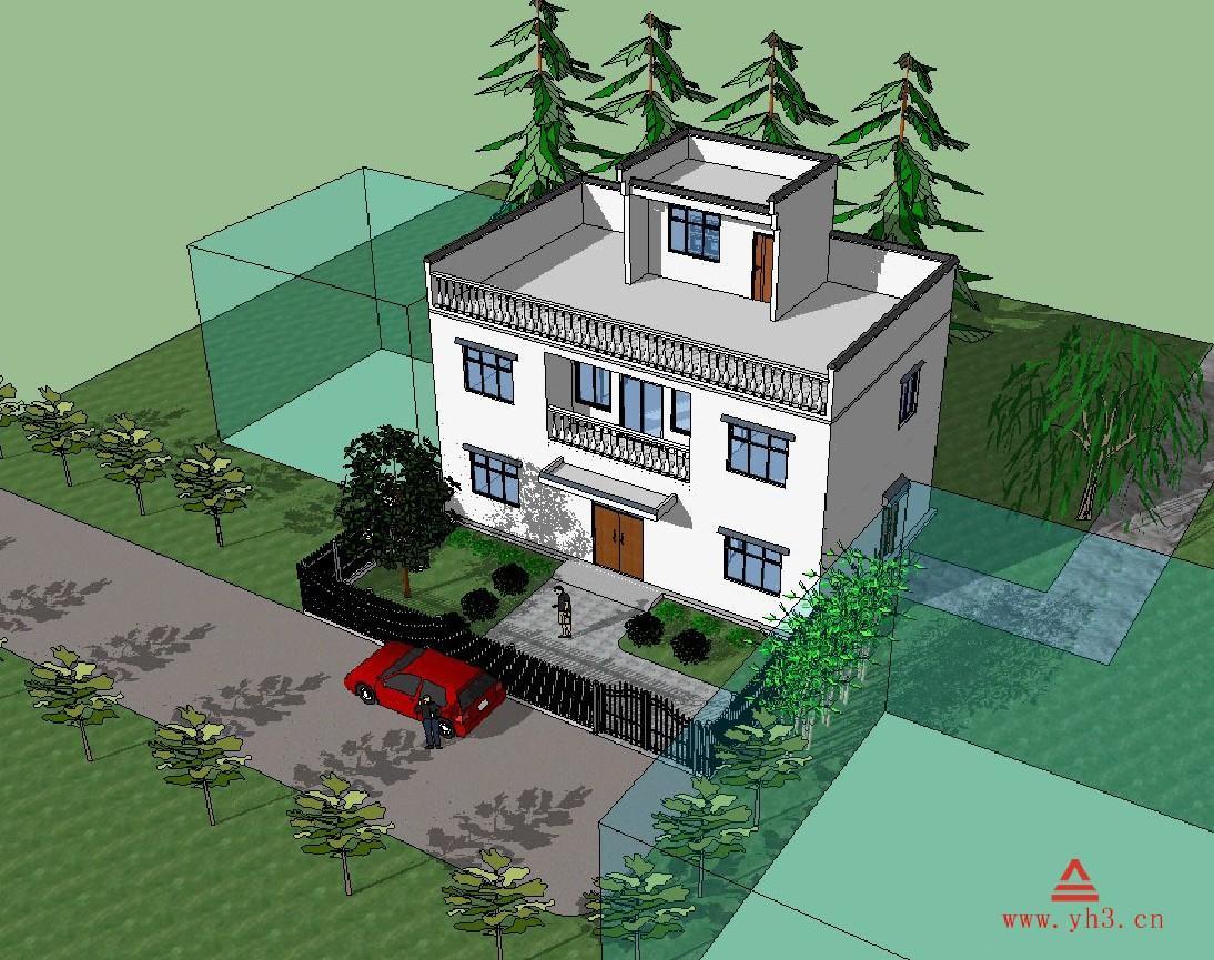 13.5x8.5两层徽派别墅自建房农村设计图五谷包装设计展示说明图片