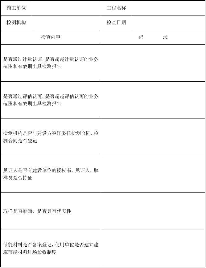 建筑节能检测检查表