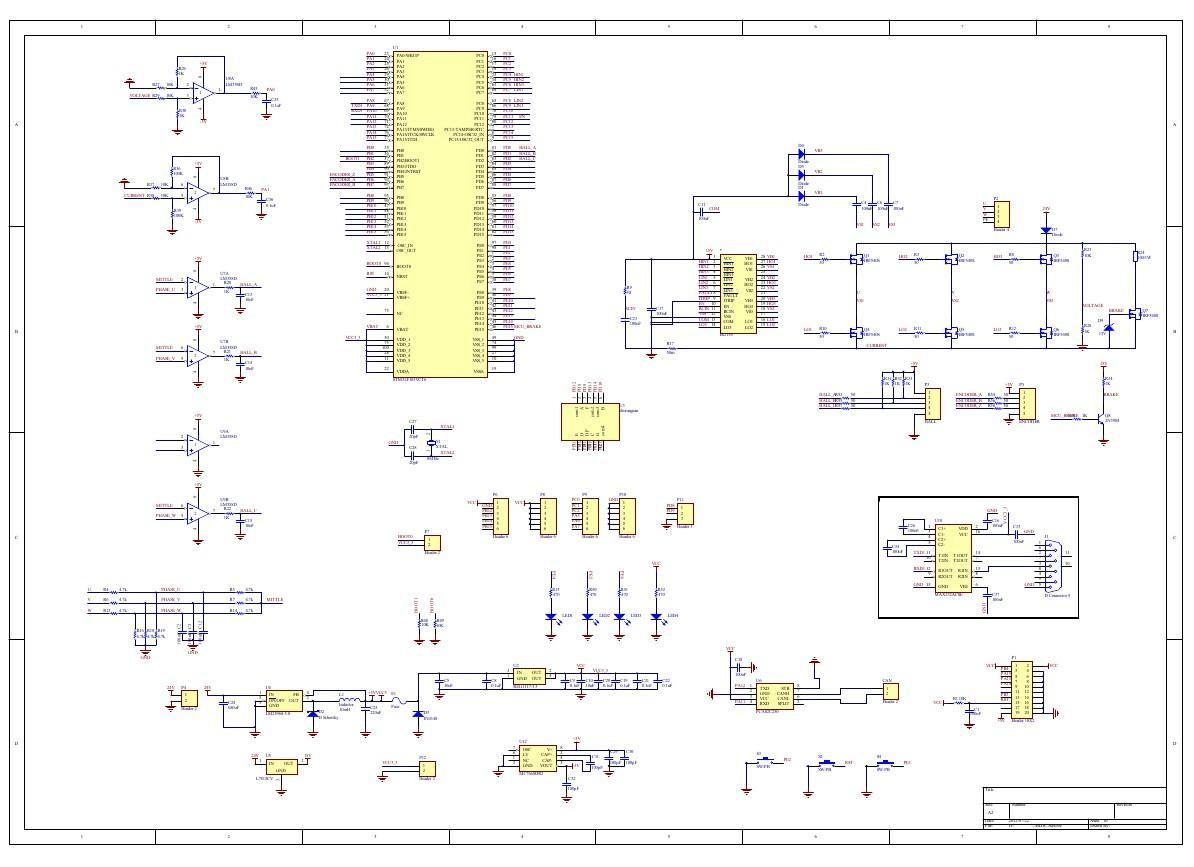 STM32F103 BLDC直流无刷电机开发驱动板原理图+PCB图