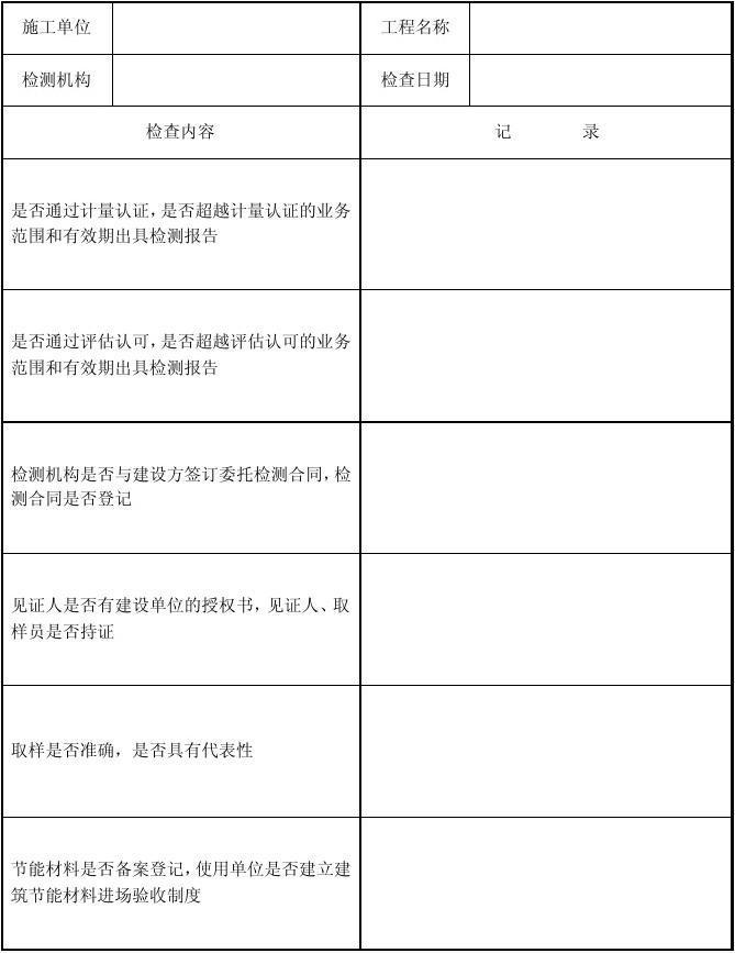 建筑节能检测检查表一