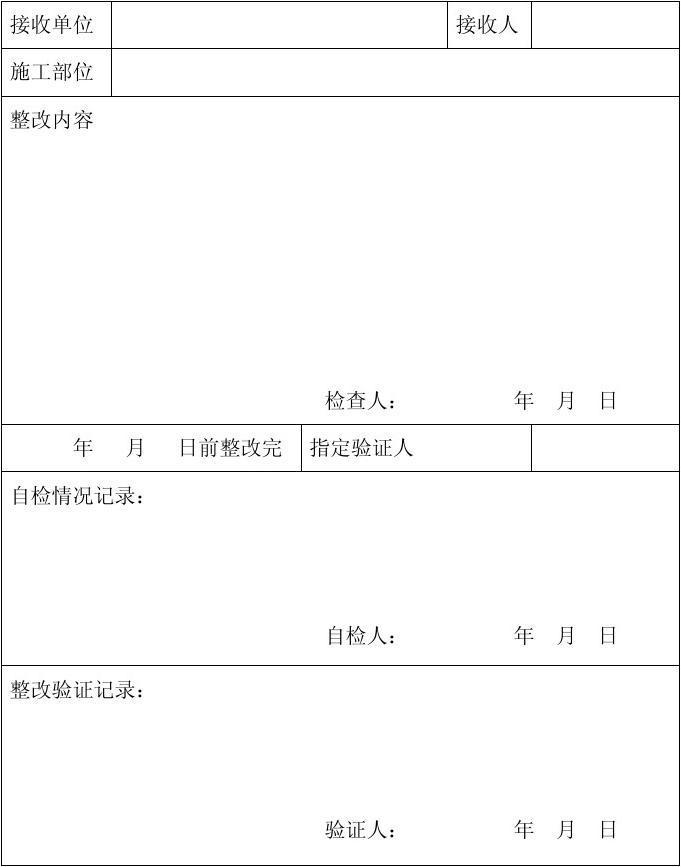 工程质量整改通知单