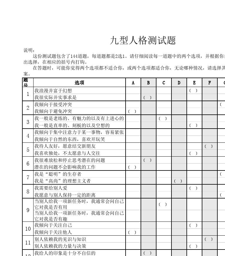 九型人格测试(144题)