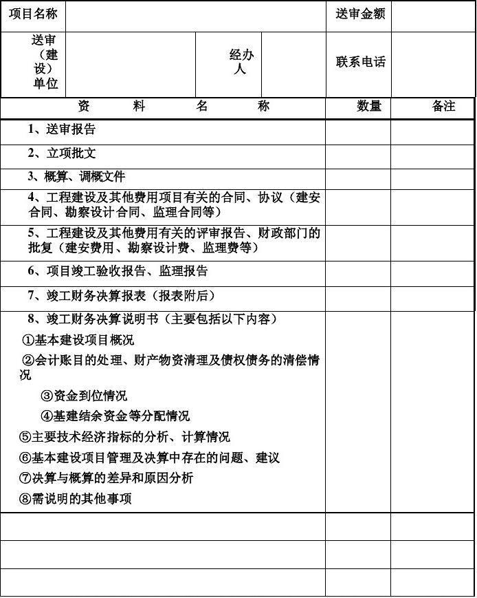 财政投资项目竣工财务决算审计资料收件清单