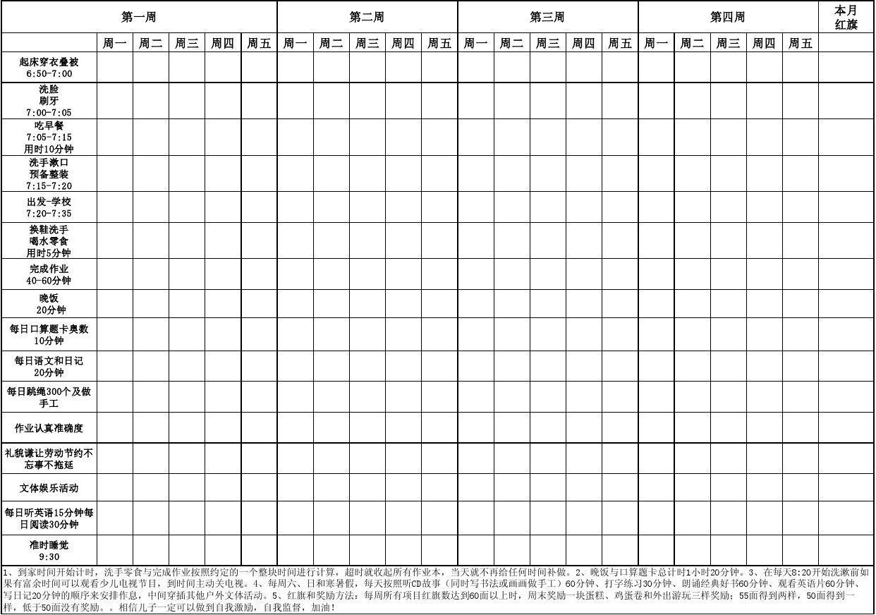 超实用小学生时间管理表(里面有奖励办法的呦小学生画城墙的图片