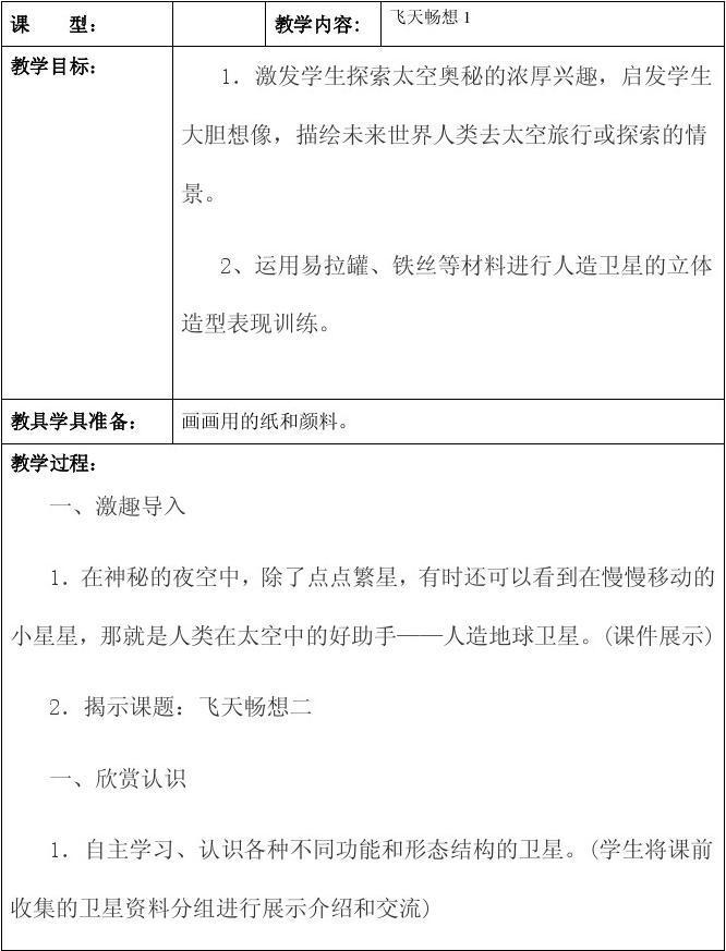 湘教版五下册教案教案《飞天畅想2》年级v下册美术图片