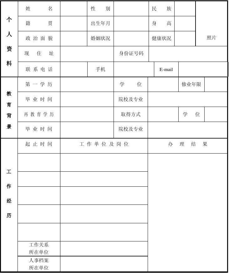 人事资料_ic卡编号:                                            人事档案