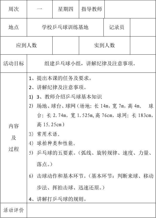 小学乒乓球小组小学在线记录表_word兴趣活动文档锦一第神木县界图片