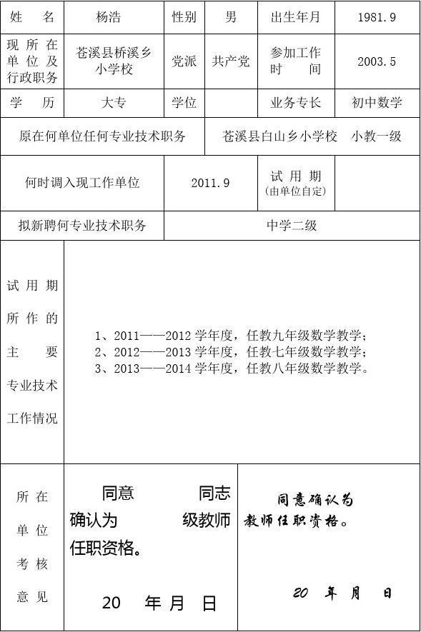 确认专业技术职务任职资格审批表--确认表