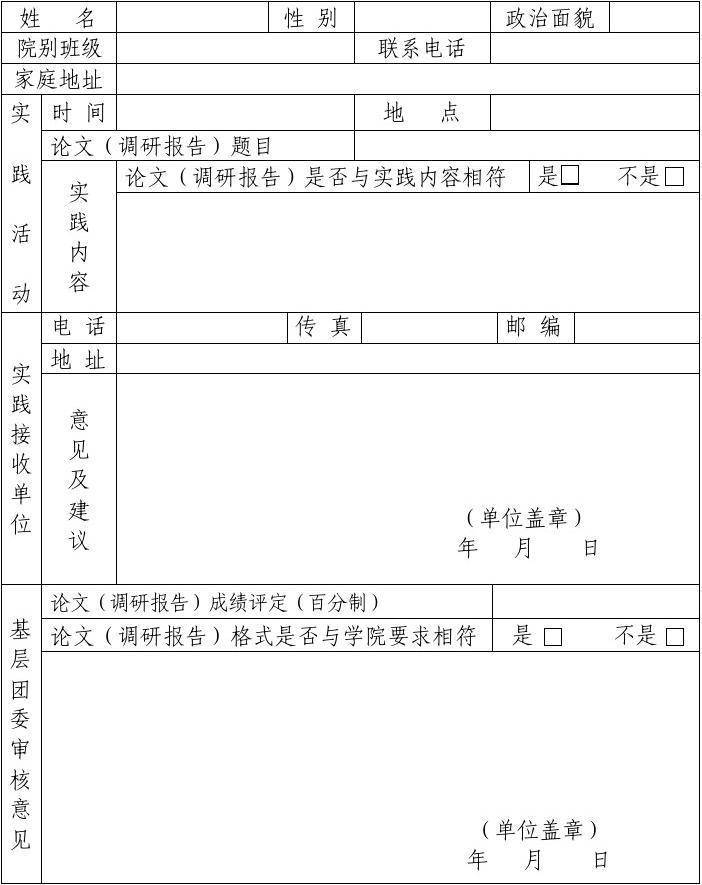 高中教育 其它课程 海南省琼州学院大学生社会实践活动反馈表(最新)