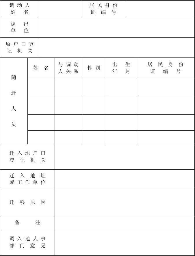 调动人员情况登记表
