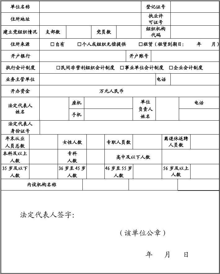 年度民办非企业单位年检记录表