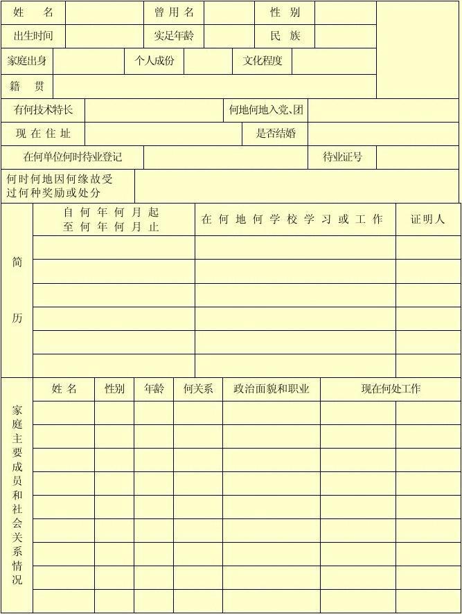 全民企业招工员工登记表