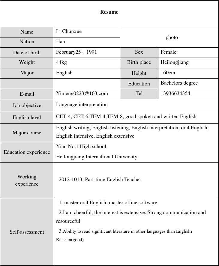 【免费】英文个人简历(表格版)图片