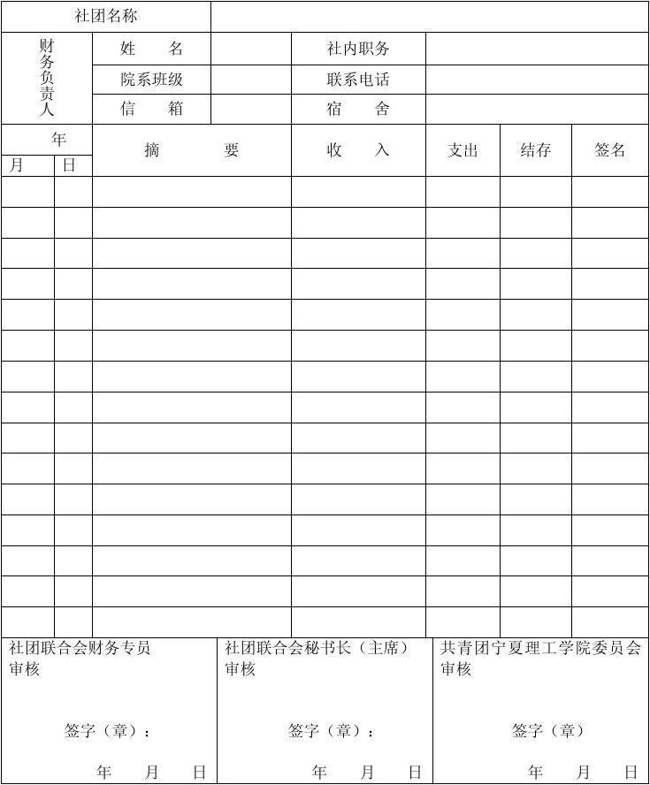 单位财务月报表_宁夏理工学院学生社团财务月报表