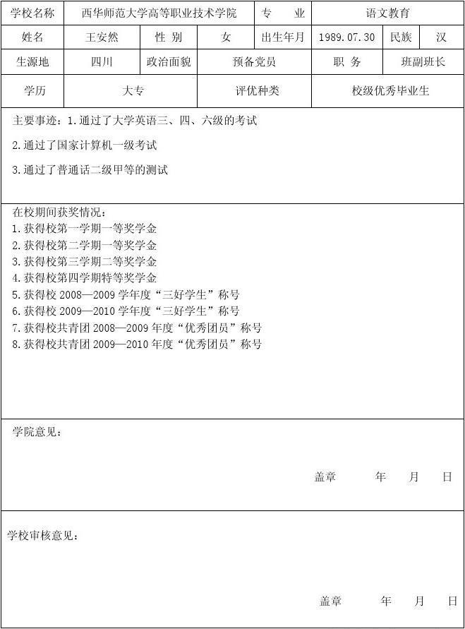 你可喜欢毕业生登记表样板普通高等学校毕业生登记表入团书南昌初中老师物理图片