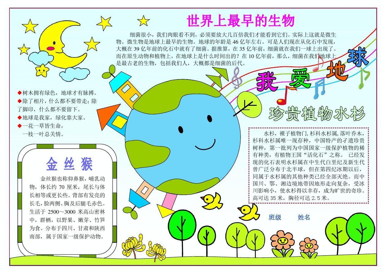 我爱地球小报 世界地球日环境日小报 a4大小 电子小报手抄报word模板图片