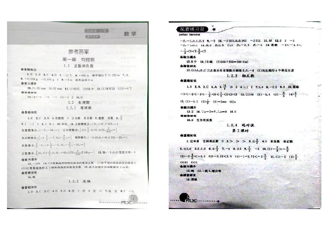 初一(上)数学配套练习册参考答案