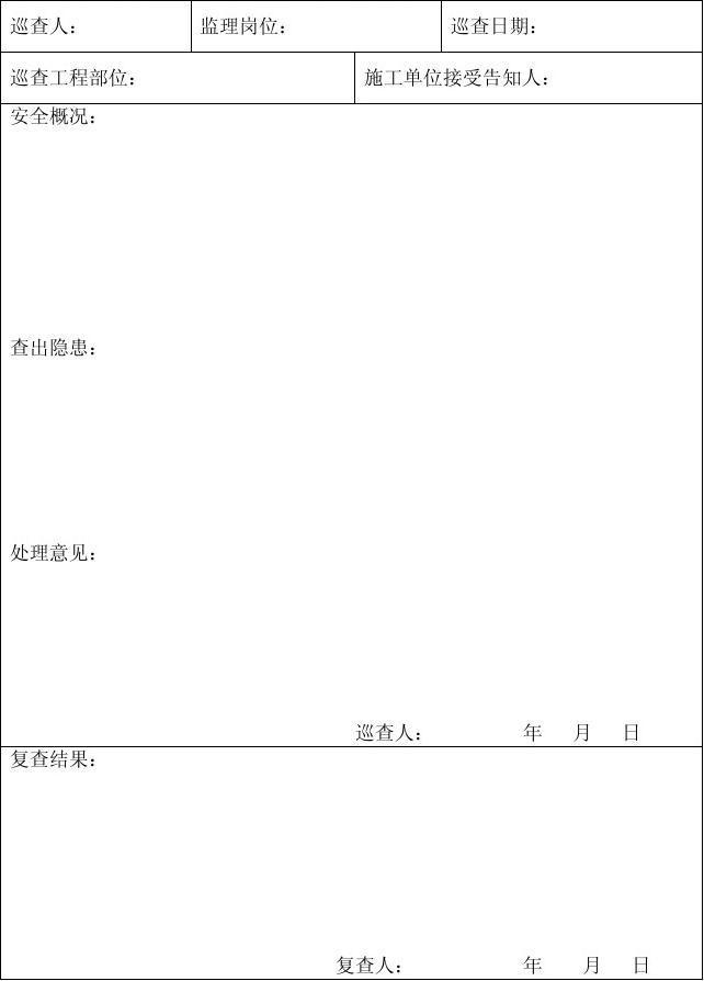 安全监理巡查记录表_word文档在线阅读与下载