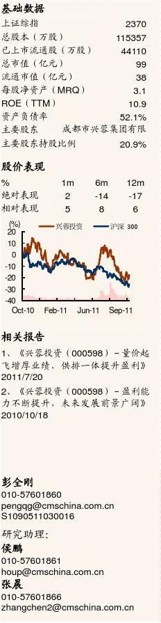 招商证券-兴蓉投资-000598-自来水业务快速增长,污水业务加快异地开拓-111024