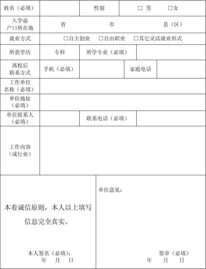 中专生毕业自我鉴定_河北省大中专学校毕业生灵活就业登记表_文档下载