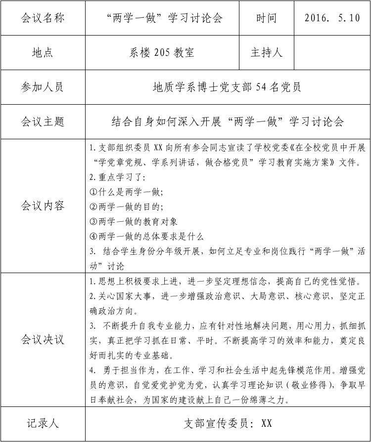 会议记录格式范文_党支部会议记录格式 - 随意贴