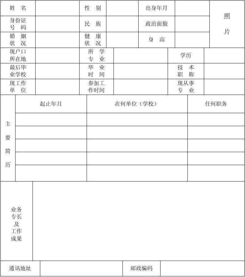 標準的個人簡歷表格(免費下載)