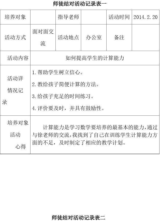 师徒结对活动记录表2014.02-2014.06