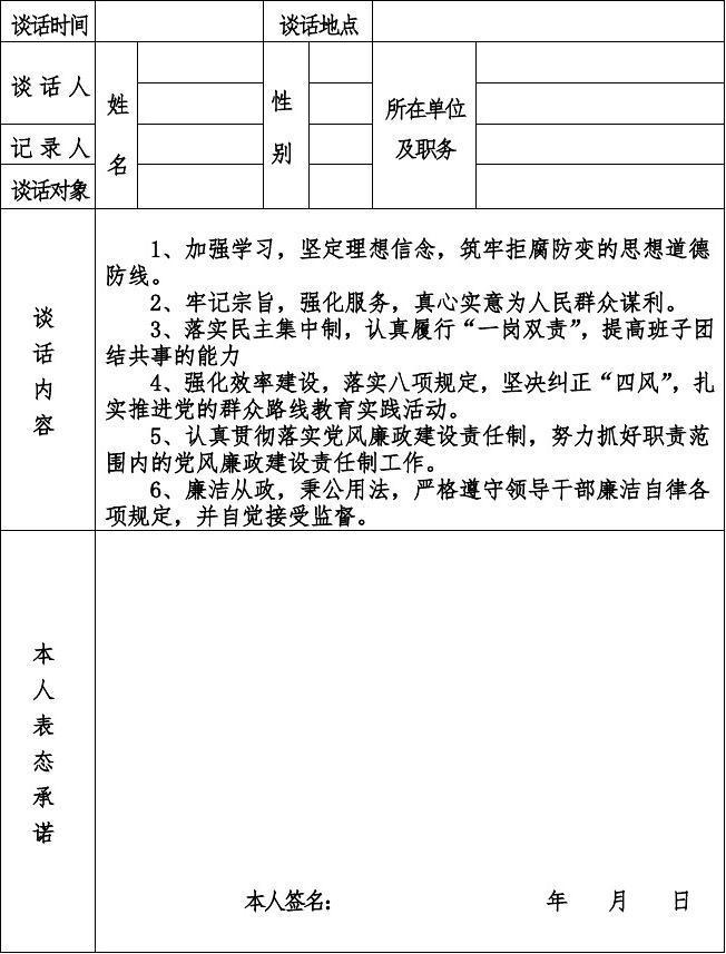 昌宁县食品药品监督管理局领导干部廉政教育谈话记录表