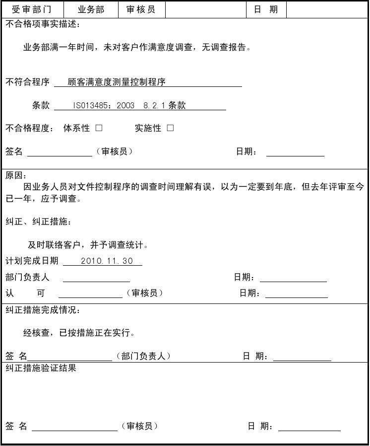ISO13485 内审不合格项报告 3