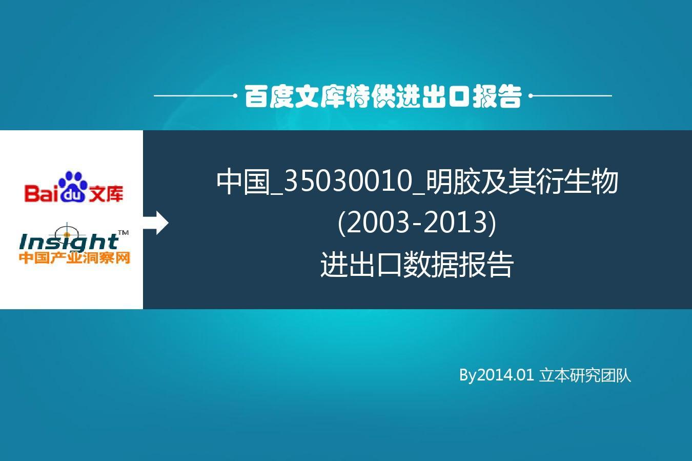 2014年海关商品编码_中国_35030010_明胶及其衍生物(2003-2013)进出口数据报告_word文档在线 ...