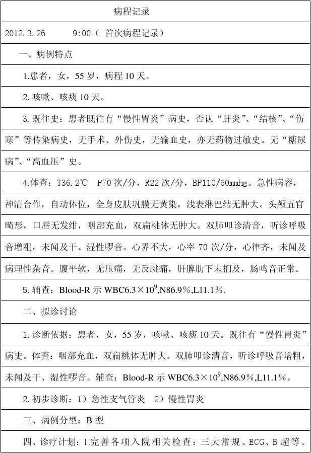 谭桂娥  肺炎 首次病程记录模板