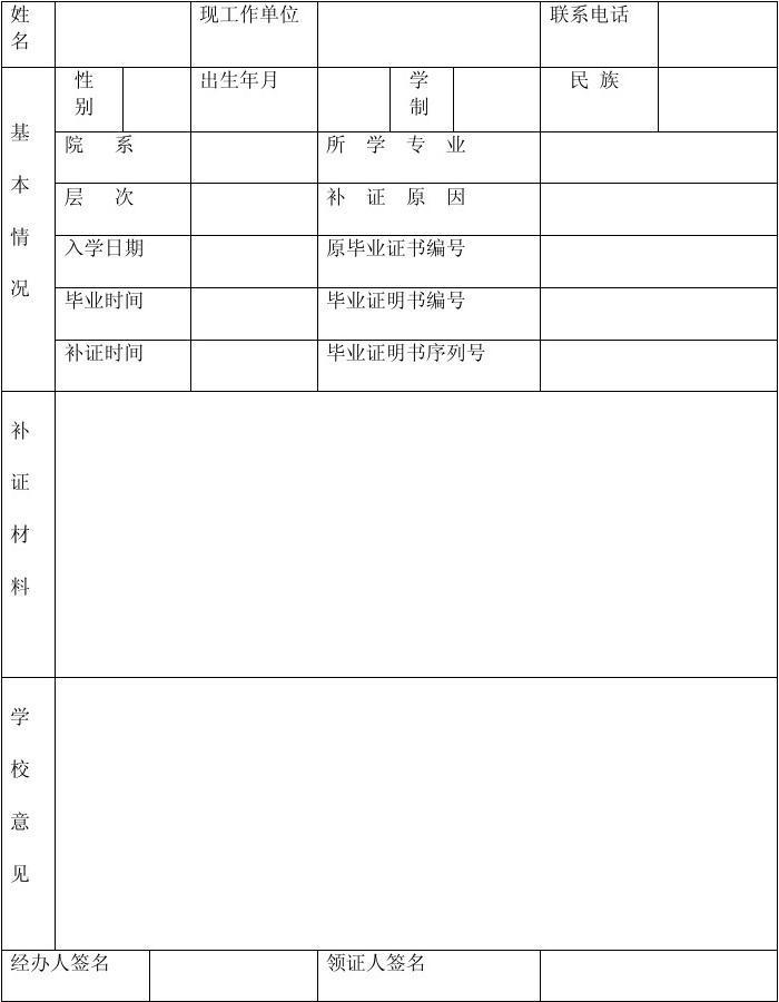 xx学院学生补办毕业证明书申请表