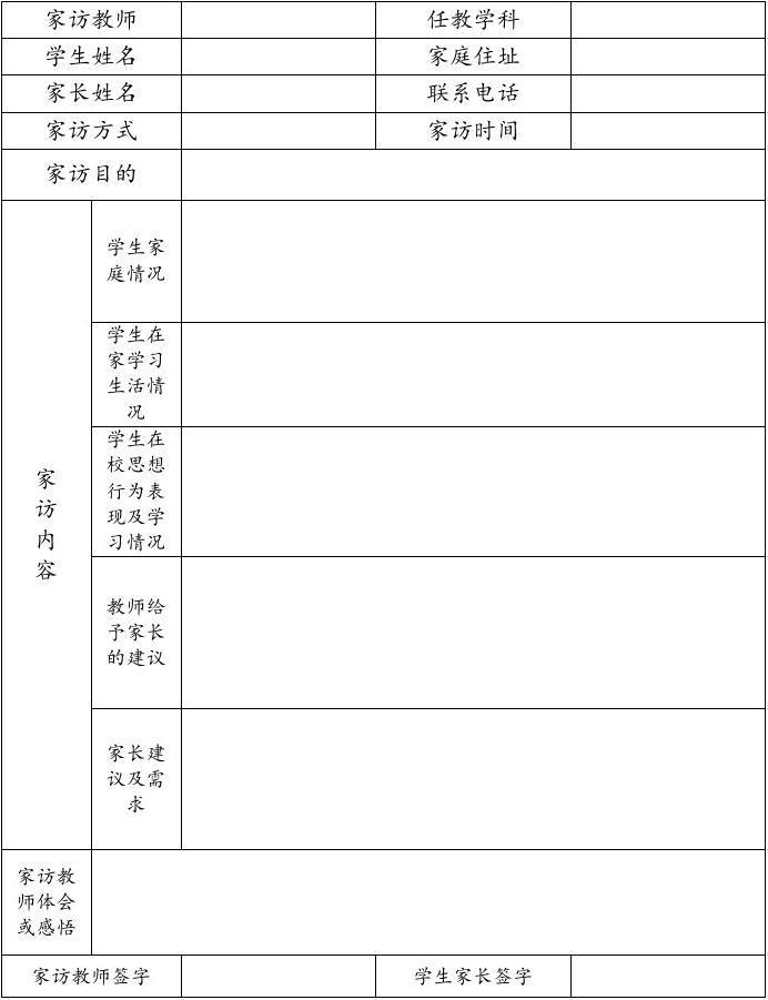 乾安县中小学文档综合记录单_word高中家访阅社区服务在线评价学生素质图片