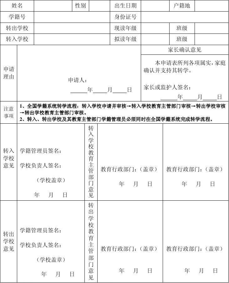 广东省湛江市中小学校学生转学证明表(全国学籍系统转学暂用)