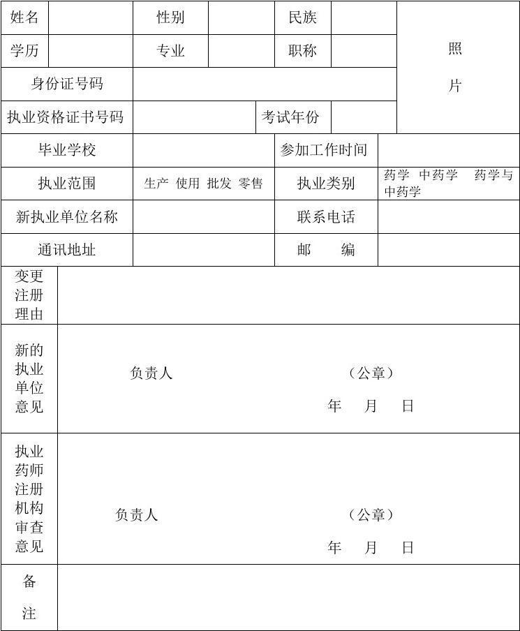 执业药师变更注册申请表