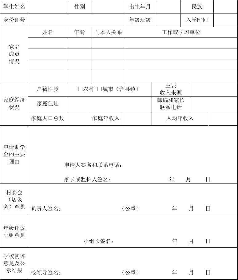 普通高中家庭经济困难学生国家助学金和免学费申请表