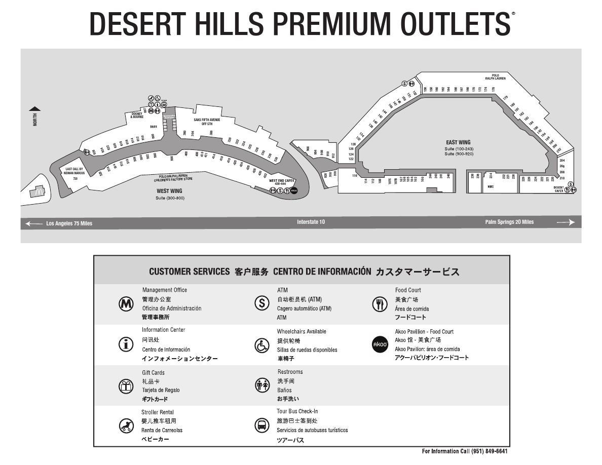 加利福尼亚 棕榈泉奥特莱斯地图