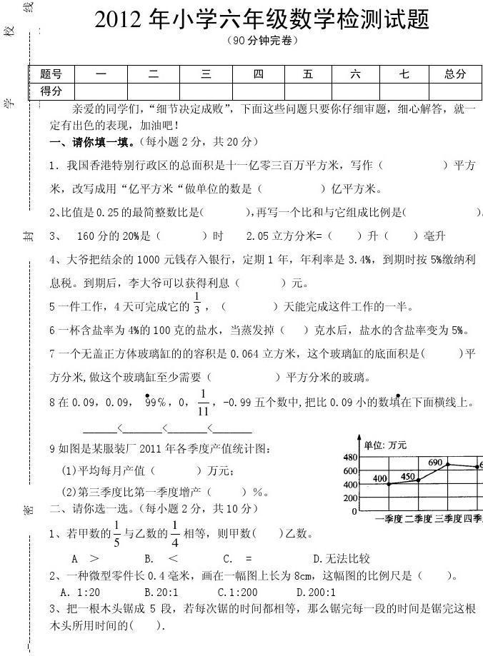 三台县2012年初中作文写景考试试题小学的数学答案毕业关于图片