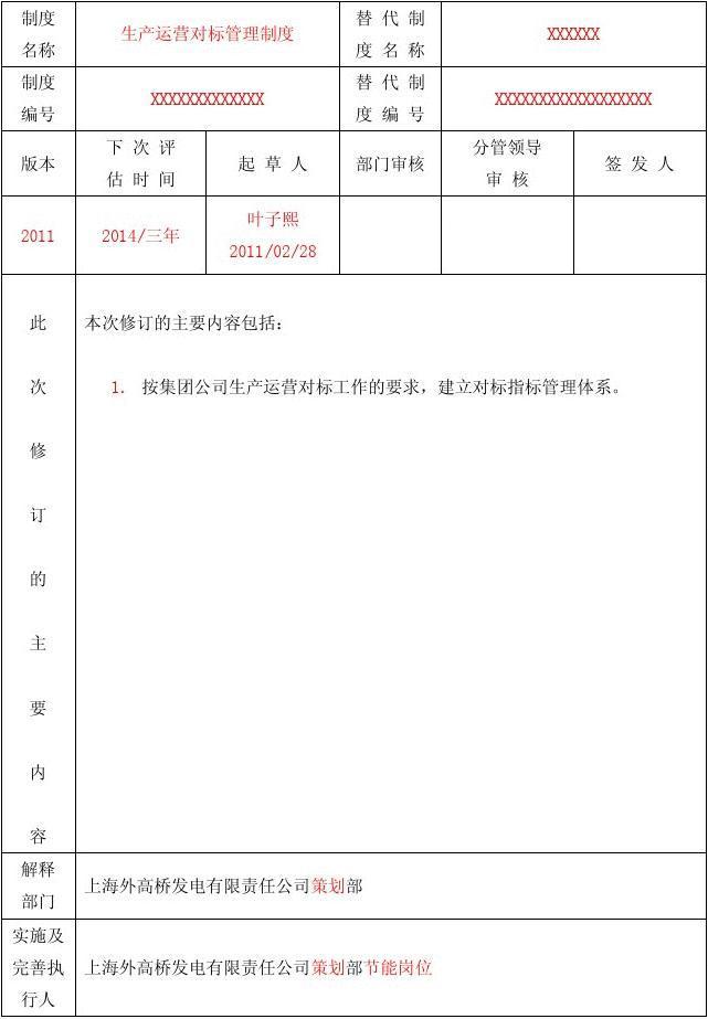 生产运营对标管理制度2011