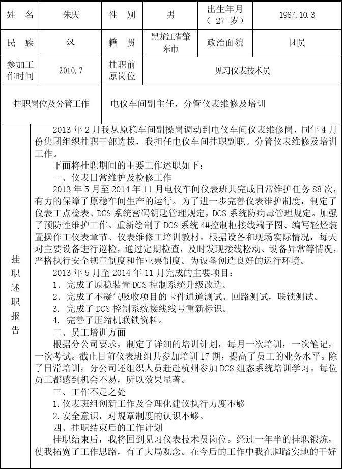 挂职见习干部综合考核评价表(朱庆)