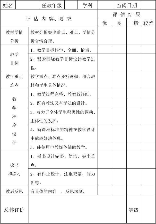 教师备课检查记录表