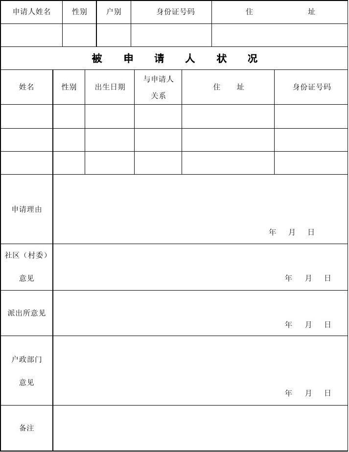 没有户口如何申请低保_开江县户口一年能申请公租房吗_户口申请书