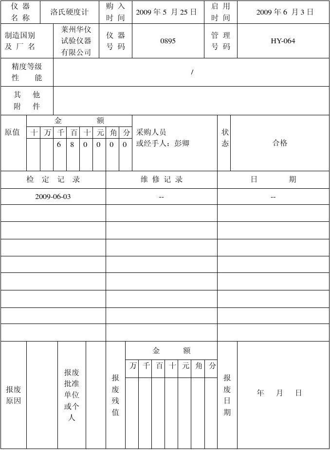 监视和测量装置台账表