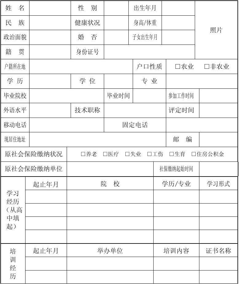 (新)员工信息登记表