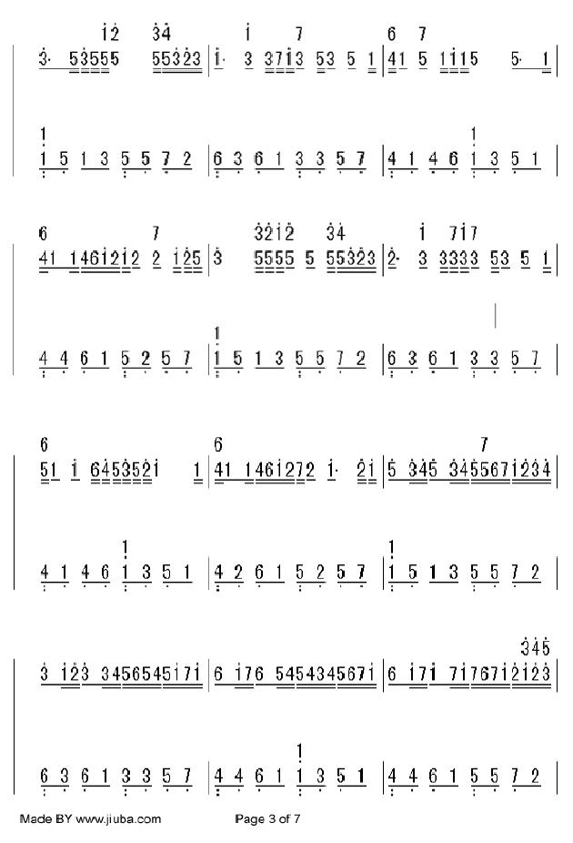 卡农(钢琴简谱4页双手)
